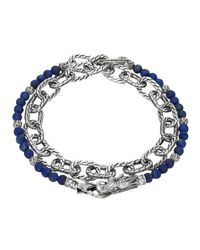 John Hardy | Blue Naga Double Wrap Silver Link Bracelet With Lapis | Lyst