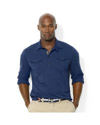 Ralph Lauren | Blue Polo Big and Tall Slub Jersey Workshirt for Men | Lyst
