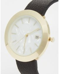 ASOS - Metallic Premium Leather Watch With Mother Of Pearl Effect Face - Lyst
