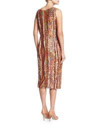 Nina Ricci - Brown Sleeveless Sequined Cocktail Sheath Dress - Lyst