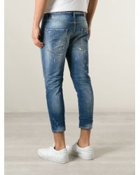 DSquared² - Blue Slim Fit Cropped Jeans for Men - Lyst