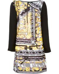 Versus - Yellow Graphic Print Panel Dress - Lyst