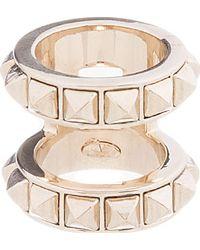 Valentino - Metallic Platinum Double Band Ring - Lyst