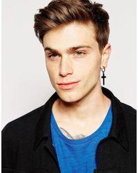 ASOS - Cross Hoop Earrings In Black for Men - Lyst