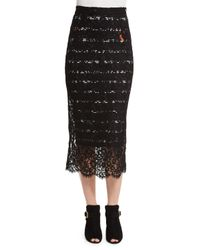 Preen By Thornton Bregazzi - Black Striped Lace Midi Pencil Skirt - Lyst