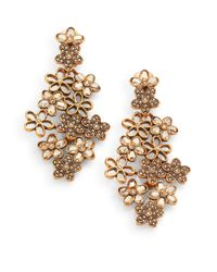 Oscar de la Renta | White Swarovski Crystal Flower Clipon Earrings | Lyst