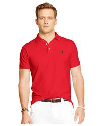 Polo Ralph Lauren - Red Custom-fit Stretch-mesh Polo for Men - Lyst