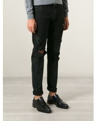 Saint Laurent - Black Distressed Skinny Jeans for Men - Lyst