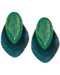Robert Lee Morris - Green Layered Sculptural Patina Stud Earrings - Lyst