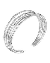 John Hardy - Metallic Bamboo Silver Narrow Flex Cuff With Diamonds - Lyst