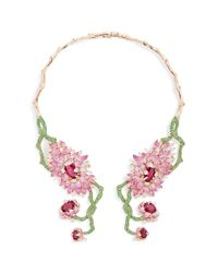 Wendy Yue | Green Symmetrical Floral Collar Necklace | Lyst