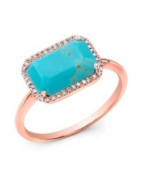 Anne Sisteron - Blue 14kt Rose Gold Turquoise Diamond Chic Ring - Lyst