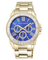 Vince Camuto | Metallic Crystal Bezel Multifunction Bracelet Watch | Lyst