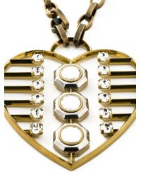 Lanvin | Metallic Heart Print Necklace | Lyst