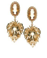 ASOS - Metallic Regal Lion Drop Earring - Lyst