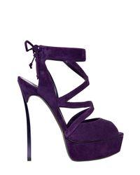 Casadei - Purple 150mm Blade Suede Cage Sandals - Lyst