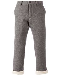 Side Slope - Gray Herringbone Cropped Trousers for Men - Lyst