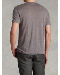 John Varvatos - Gray Short Sleeve Front Placket Henley for Men - Lyst