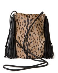 Saint Laurent - Brown Anita Leopard Fringe Bag - Lyst