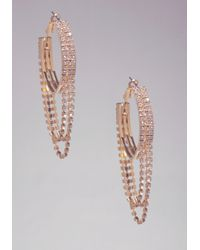 Bebe | Metallic Rhinestone Hoop Earrings | Lyst