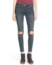 Free People | Blue Destroyed Skinny Jeans | Lyst