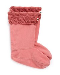 HUNTER | Pink Cable Knit Cuff Welly Socks | Lyst