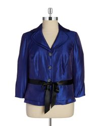 Adrianna Papell | Blue Shimmery Belted Blazer | Lyst