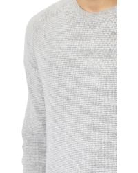 Vince - Gray Cashmere Thermal Stripe Crew Neck Sweater for Men - Lyst