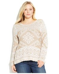 INC International Concepts - Natural Plus Size Jacquard Fringed Sweater - Lyst