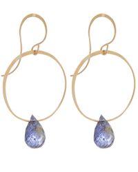 Melissa Joy Manning - Metallic Gold And Iolite Hoop Drop Earrings - Lyst