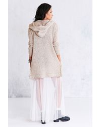 Ecote - White Boucle Hooded Cardigan - Lyst