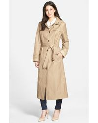 London Fog | Natural Single Breasted Long Trench Coat With Detachable Hood | Lyst