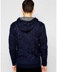 Blend | Blue Hooded Cardigan Jersey Lined Heavy Cable Knit for Men | Lyst