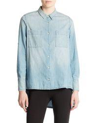 DKNY - Blue Denim Trapeze Shirt - Lyst