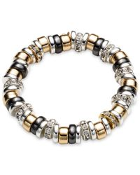 Nine West | Metallic Tri-tone Roundel Stretch Bracelet | Lyst