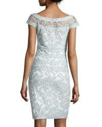 Tadashi Shoji - Gray Filigree Embroidered Lace Cocktail Dress - Lyst