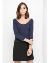 Mango - Blue Scoop Back T-Shirt - Lyst