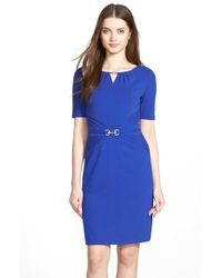 Ellen Tracy | Blue Embellished Pleated Jersey Sheath Dress | Lyst