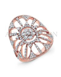 Anne Sisteron - Pink 18kt Rose Gold Diamond Shield Ring - Lyst