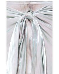 Kaelen | Green Iridescent Satin Tie-Front Skirt | Lyst