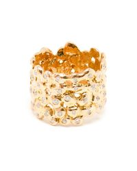 Natasha Collis | Metallic 18kt Rose Gold And White Diamond Cobble Ring | Lyst