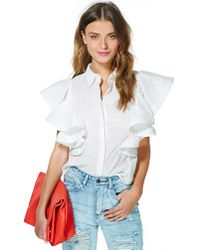 Nasty Gal | White Resort Lifestyle Ruffle Blouse | Lyst