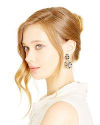 Oscar de la Renta | Metallic Black Diamond Flower Pearl Drop Earrings | Lyst