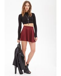 Forever 21 | Red Sheeny Skater Skirt | Lyst