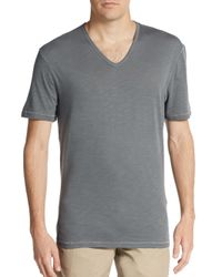 John Varvatos - Gray Contrast-stitched Cotton V-neck Tee for Men - Lyst