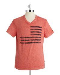 William Rast | Red V-neck Flag Tee for Men | Lyst