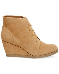 Madden Girl | Brown Domain Lace-up Wedge Booties | Lyst