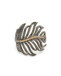 Rosa De La Cruz | Metallic 18k Gold And Diamond Feather Ring | Lyst