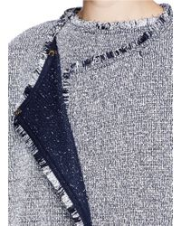 St. John - Blue Paper Eyelet Fringe Tweed Knit Jacket - Lyst