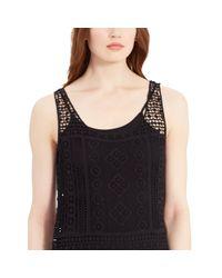Ralph Lauren | Black Fringed Lace Sleeveless Dress | Lyst
